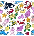 cartoon sea animals seamless pattern vector image