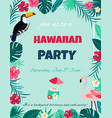 cocktail with hibiscus flowers and palm leaves vector image