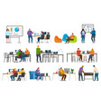 coworking characters with laptops and whiteboards vector image vector image