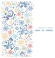 cute snowmen vertical frame seamless pattern vector image vector image