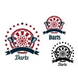 darts icons with arrows and dartboard vector image vector image
