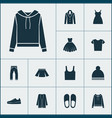 dress icons set with gumshoes clothes skirt and vector image vector image
