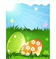 Easter eggs in the spring meadow vector image