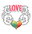 fashion heart love with stars patch vector image vector image