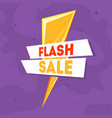 flash sale banner template with golden thunder vector image