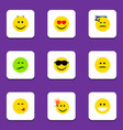 flat icon emoji set of frown asleep happy and vector image vector image