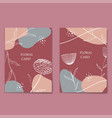 floral line art minimal flat style cards set vector image vector image