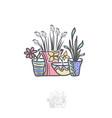 flower in pot logo design vector image vector image