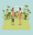 girls planting trees in the park vector image vector image