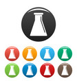 glass flask icons set color vector image