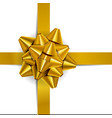 gold bow for packing gifts vector image