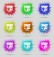 Graph icon sign Nine original needle buttons vector image vector image