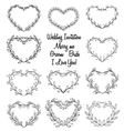 hand drawn wreaths in heart vector image