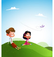 happy kids jumping together during a sunny day vector image vector image