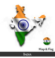 india map and flag waving textile design dot vector image