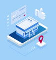 isometric buying products through a mobile vector image