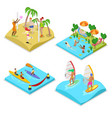 isometric outdoor sea beach activity kayaking vector image vector image
