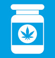 jar of powder marijuana icon white vector image vector image