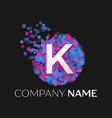 letter k logo with blue purple pink particles vector image vector image