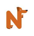 letter n is dog pet font dachshund alphabet vector image vector image