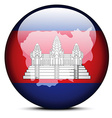 Map on flag button of Kingdom of Cambodia vector image