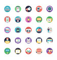 media and advertisement flat icons set vector image