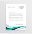 modern letterhead design template with blue wavy vector image vector image