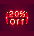 Neon frame 20 off text banner night sign board