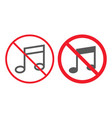no music line and glyph icon prohibition vector image vector image