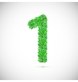 Numeral one made up of green leaves vector image