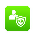 patient protection icon green vector image vector image