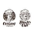 portrait of happy chef logo or label cooking vector image vector image