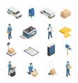 postal service isometric icons set vector image