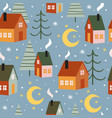 seamless pattern with houses and christmas trees vector image