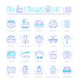 set blue line icons rail transport vector image vector image