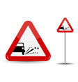 sign warning emission of gravel stones in red vector image vector image