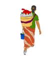 sketch and flat color walking jamu seller vector image vector image