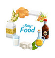 soy food products soybean nutrition vector image vector image