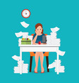 stress situation on work overworked and tired vector image vector image