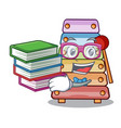 student with book xylophone with character wooden vector image