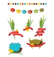 sukkot collection - four symbols of Jewish vector image vector image