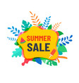 summer abstract sale banner with tropical leaves vector image