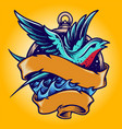 swallow tailor vintage tattoo vector image