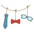 tie with bow tie and glasses vector image vector image