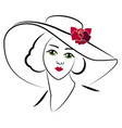 woman with hat 6 vector image vector image