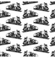 pattern with steam locomotive vector image