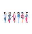 young asian women icons set chinese or japanese vector image