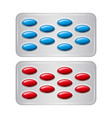 set of package of pills group of realistic red vector image