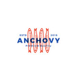 anchovy fish logo hipster vintage retro label vector image vector image