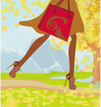 Autumn Shopping close-up on shoes and shopping vector image vector image